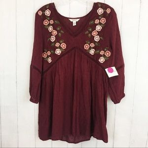 Arizona Burgundy Floral Embroidered Tunic Blouse